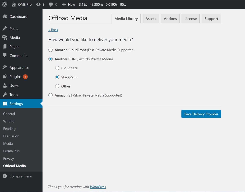StackPath setup - Offload Media delivery provider