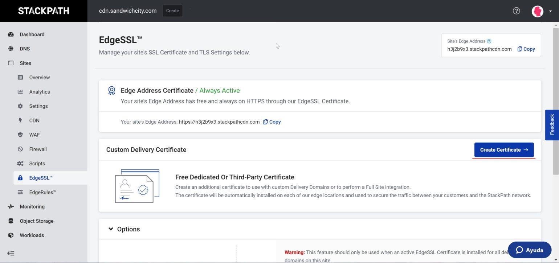 StackPath setup - EdgeSSL create certificate