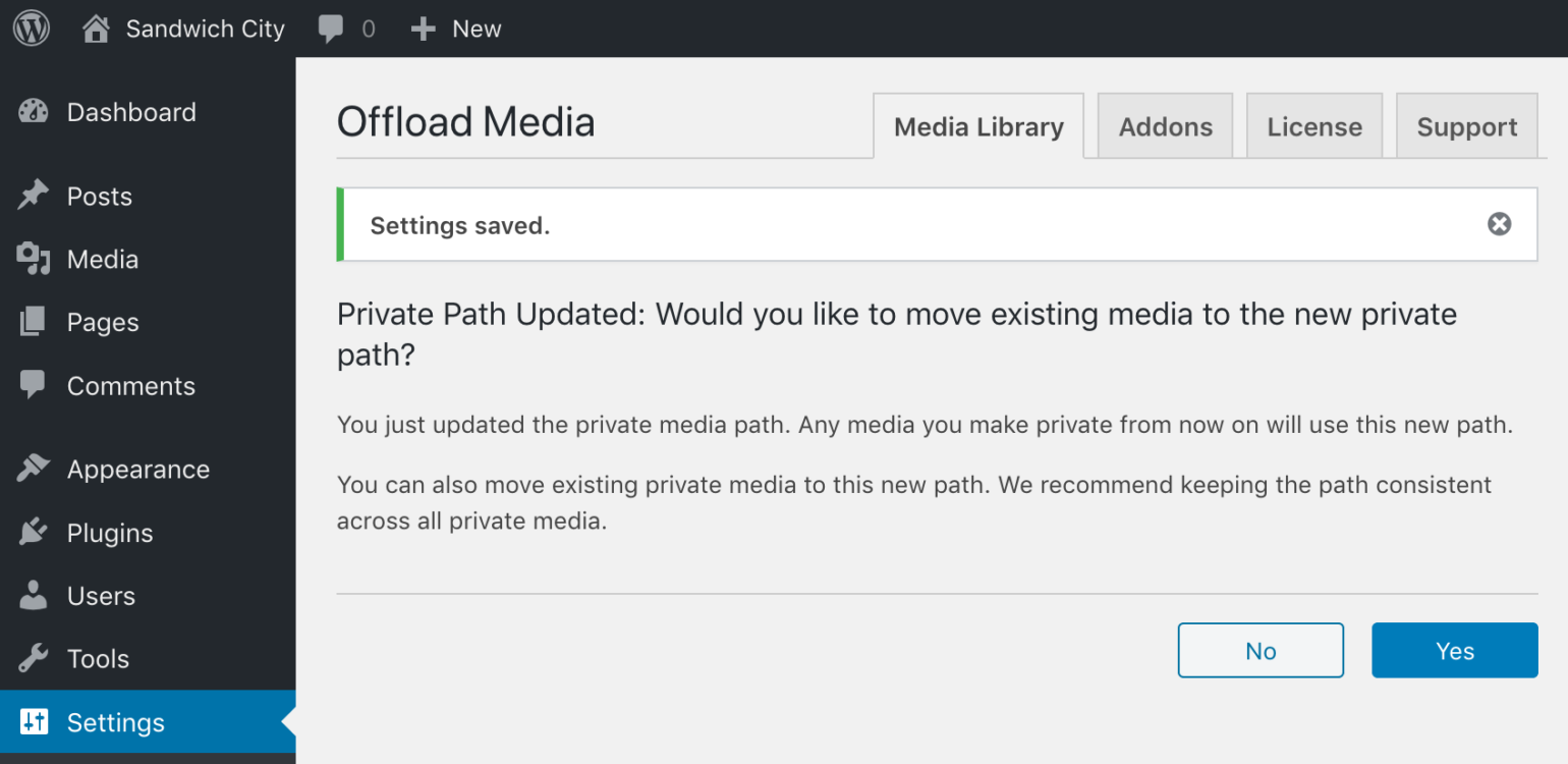 OME Signed CloudFront Setup - WP Offload Media showing move private media prompt