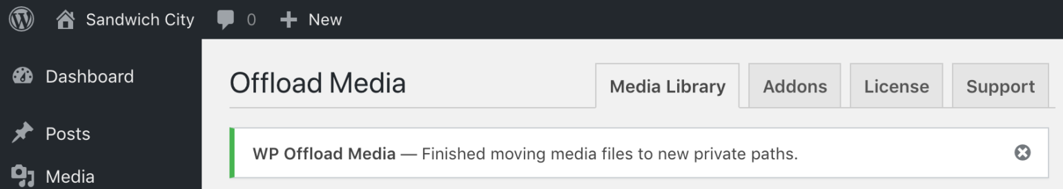 OME Signed CloudFront Setup - WP Offload Media finished moving private media files notices