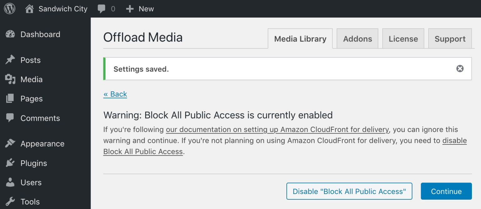 Block All Public Access to Bucket enabled on initial set up of WP Offload Media