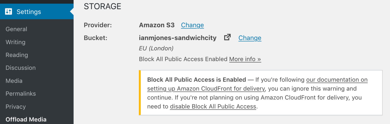 Block All Public Access to Bucket enabled shown with warning on settings page