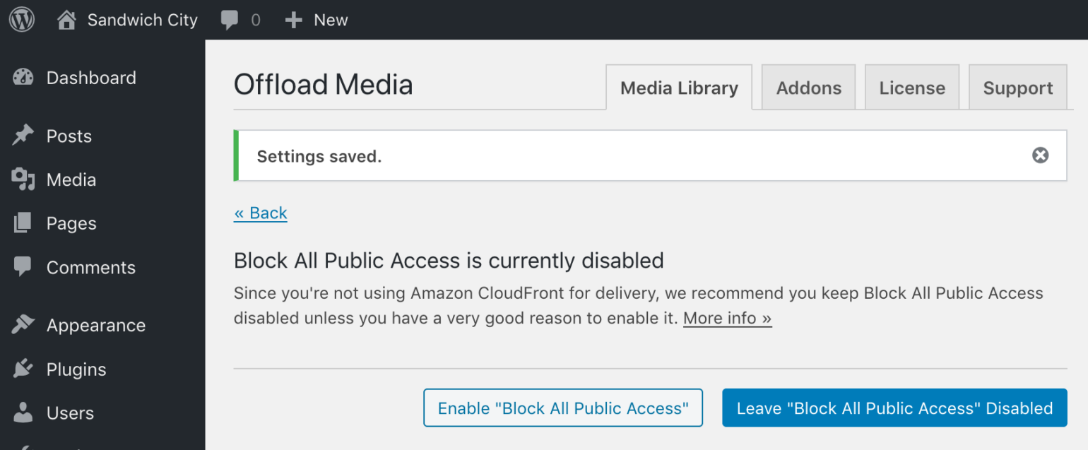 Block All Public Access disabled prompt in WP Offload Media with CloudFront not as Delivery Provider