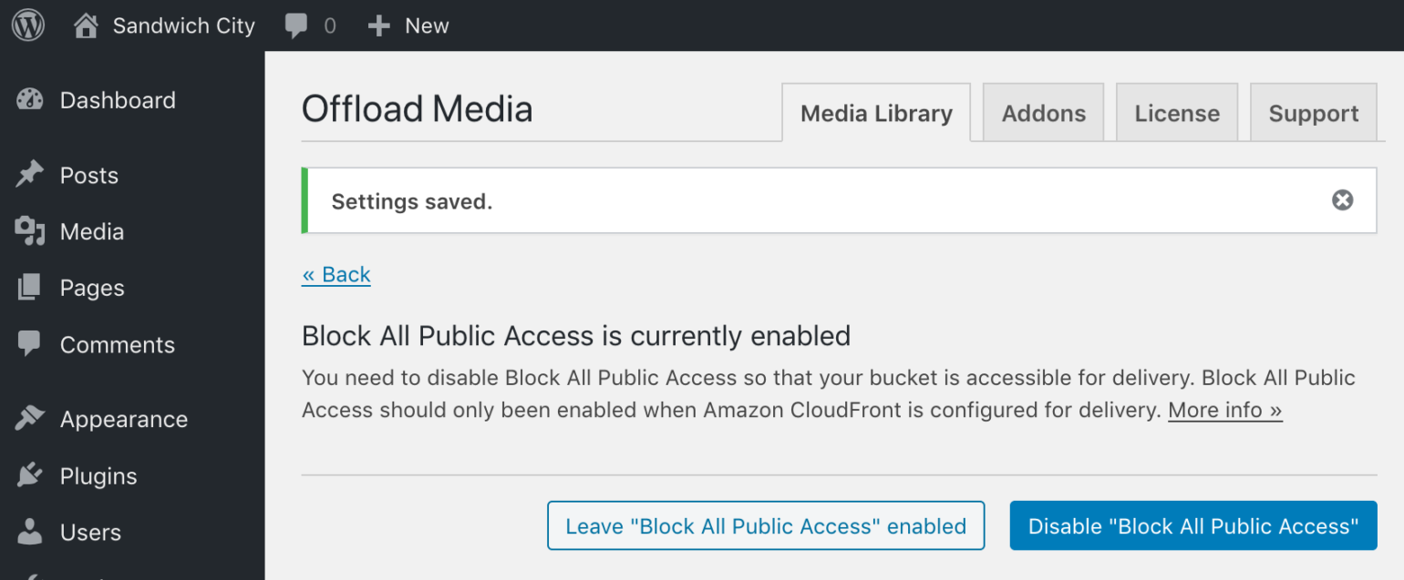 Block All Public Access enabled prompt in WP Offload Media with S3 as Delivery Provider