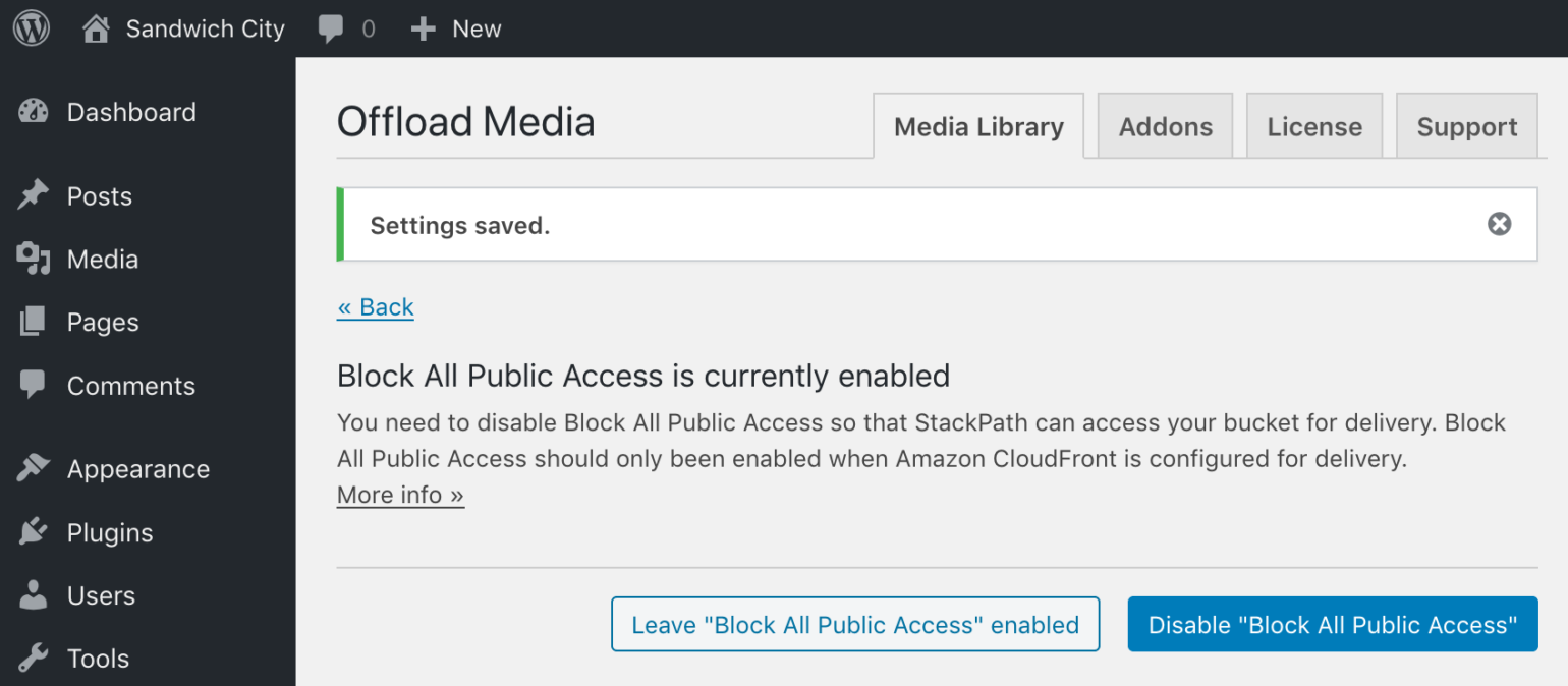 Block All Public Access enabled prompt in WP Offload Media with StackPath as Delivery Provider