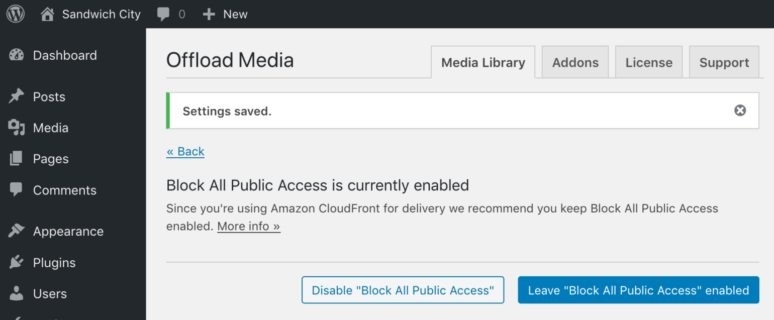 Block All Public Access enabled prompt in WP Offload Media with CloudFront as Delivery Provider