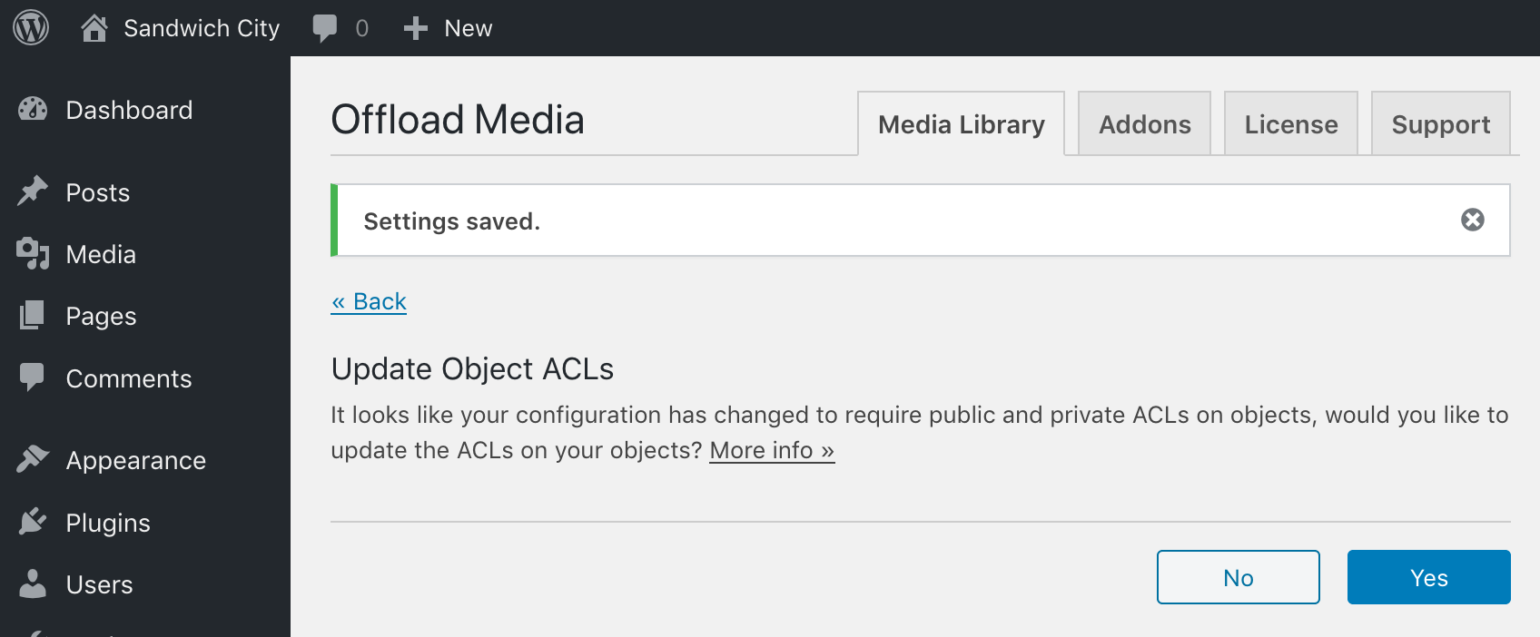 Update Object ACLs prompt in WP Offload Media after Block All Public Access disabled