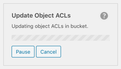 Update Object ACLs background process progress displayed in WP Offload Media