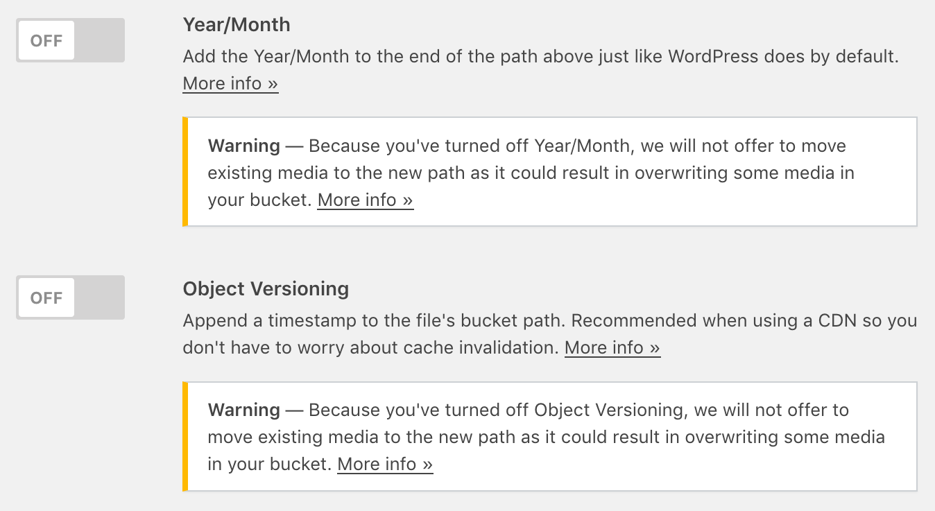 Move Public Objects Prompt Not Shown Warning When Turning Off Year-Month or Object Versioning Settings