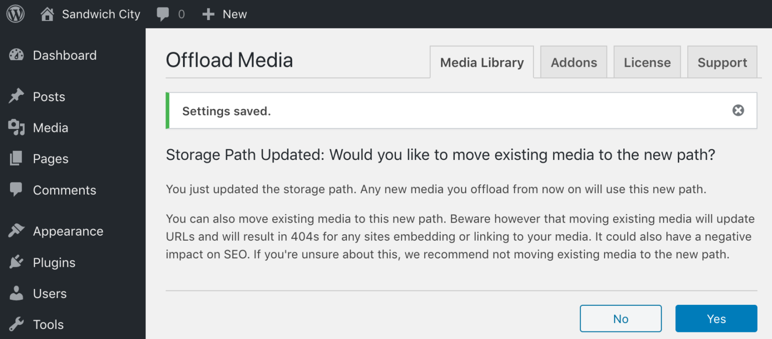 WP Offload Media showing storage path changed prompt