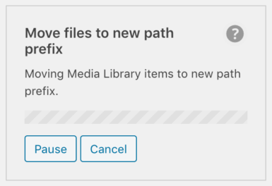 WP Offload Media's move objects tool in progress