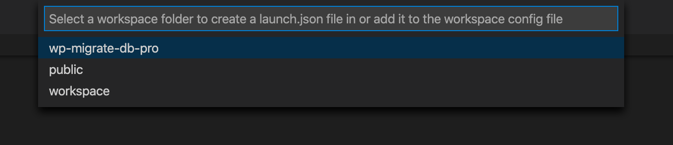 Select workspace for launch.json