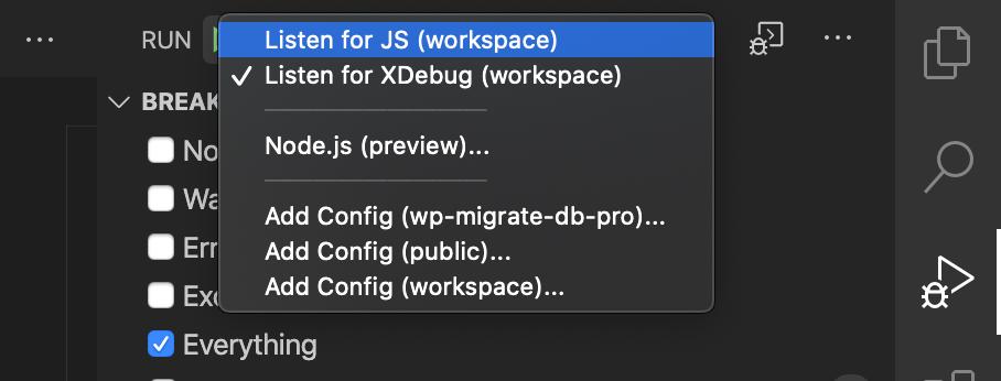 Listen for JS debug option