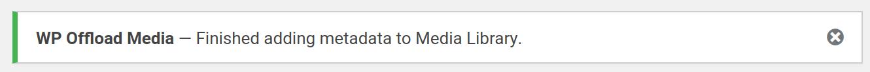 Add Metadata tool finished success notice