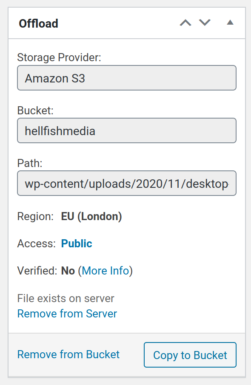 Media Library item Offload metabox showing verified no