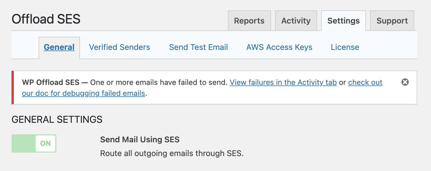 WP Offload SES - email failed notice