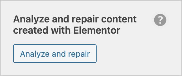 Elementor analyze and repair tool
