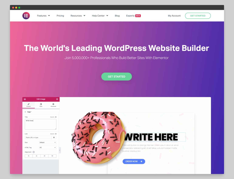 Elementor website screenshot