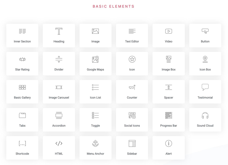 Elementor basic elements list