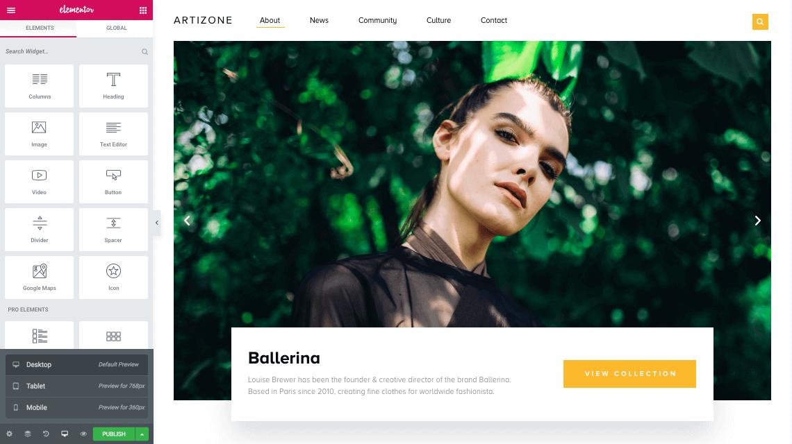 Elementor page editor interface screenshot