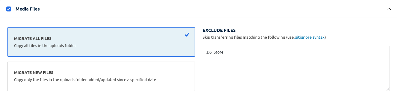 Migrate all files option checked