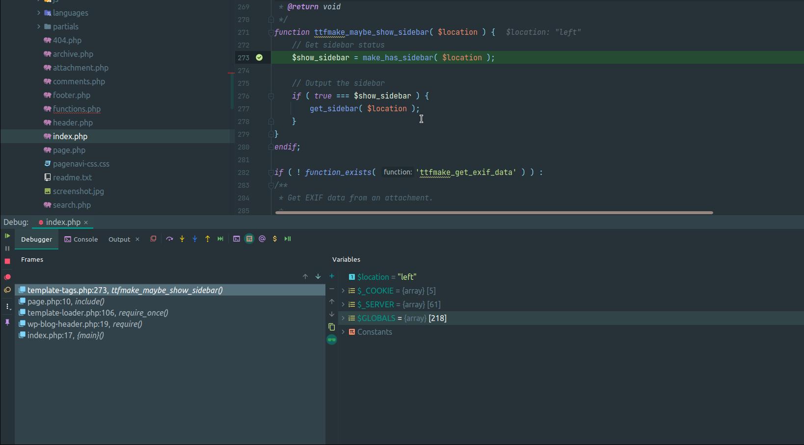 PhpStorm Xdebug debugging panel