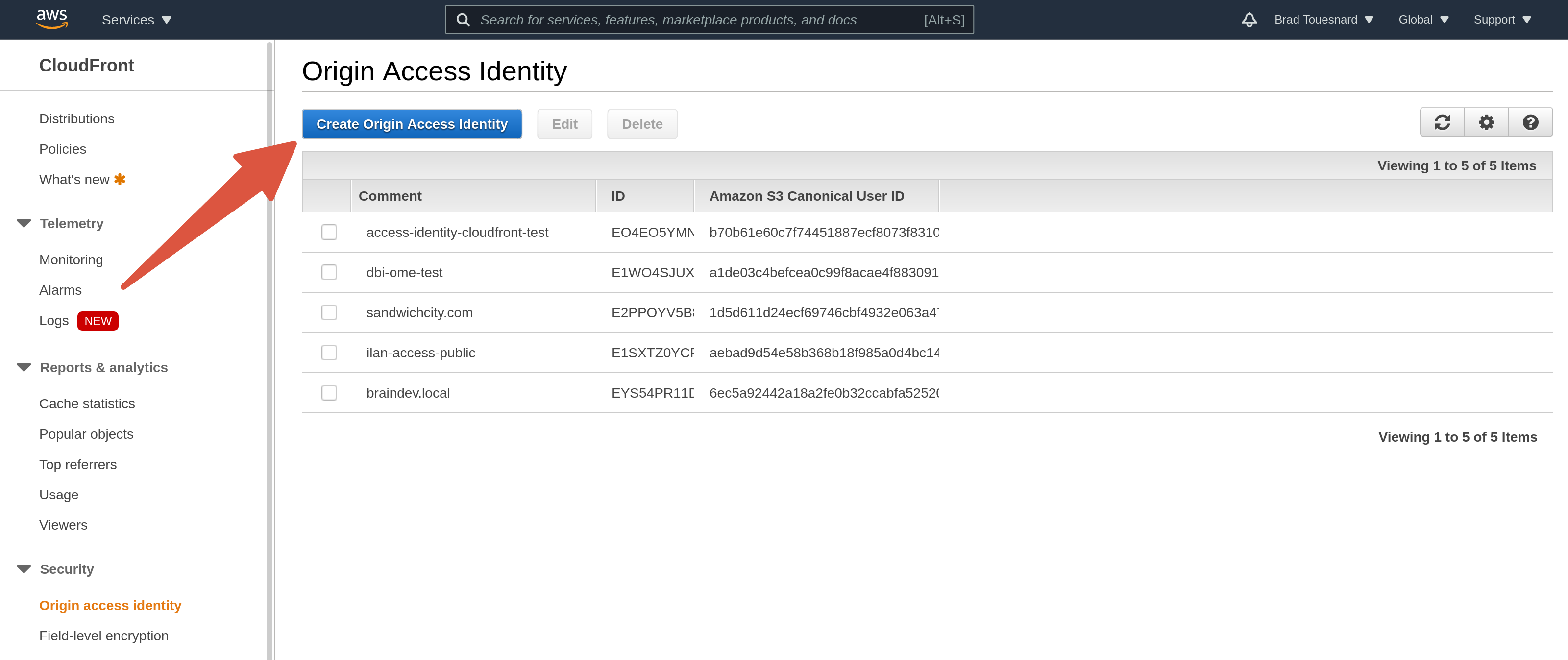 OME CloudFront Setup - Origin Access Identity page in AWS Console