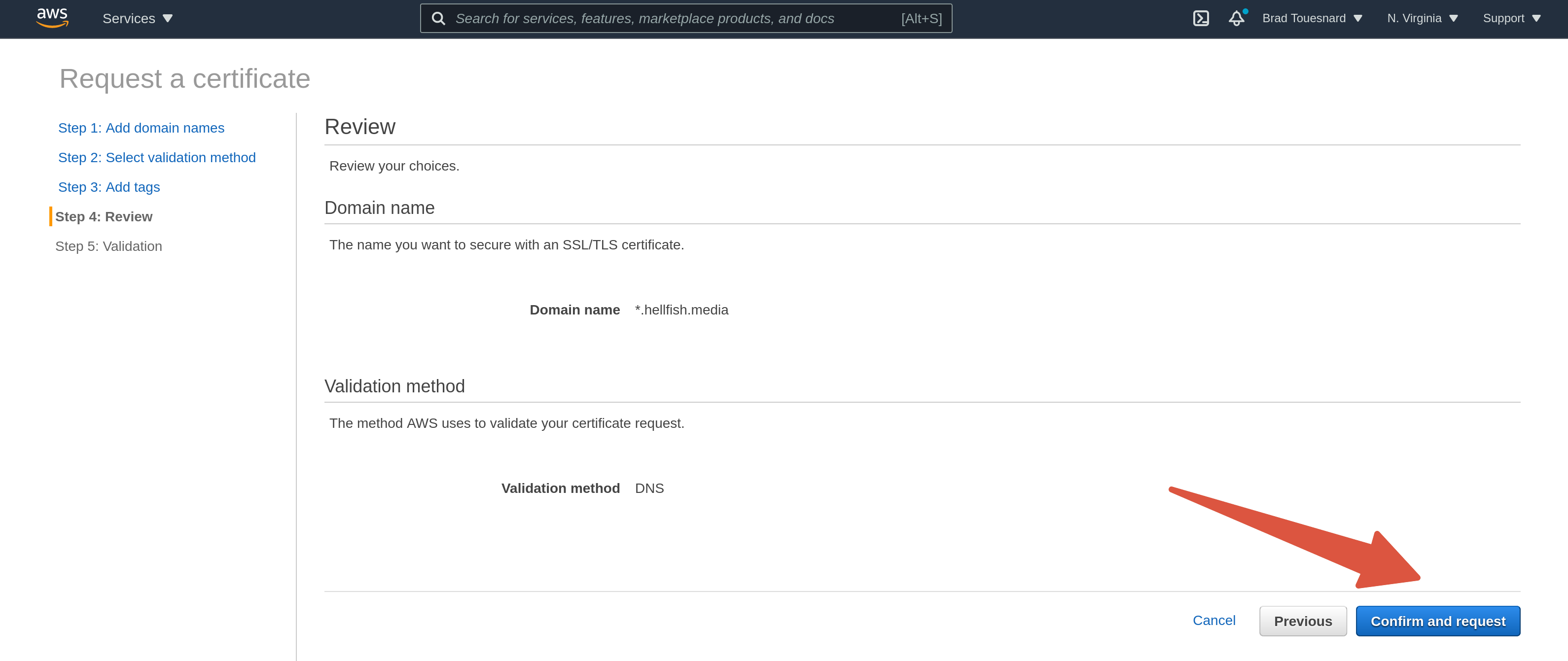 OME CloudFront Setup - Review choices Certificate Manager page