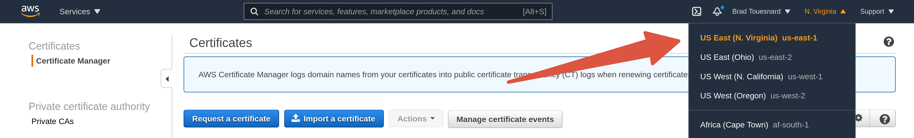 OME CloudFront Setup - Certificate Manager page showing region select menu and Request a certificate button