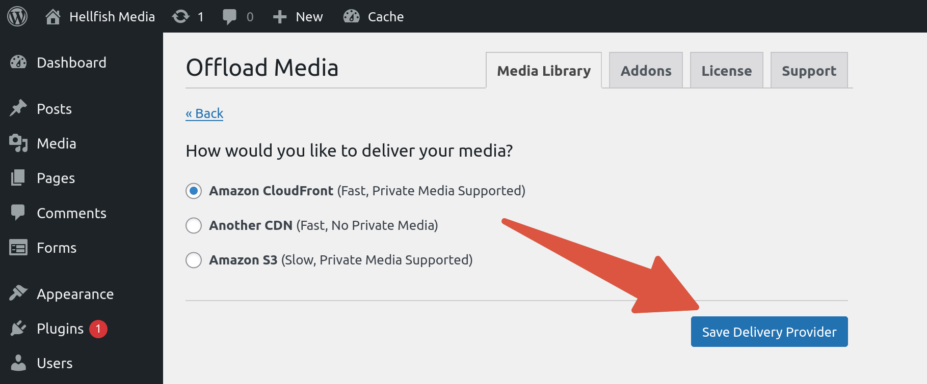 OME CloudFront Setup - WP Offload Media picking Amazon CloudFront as delivery provider