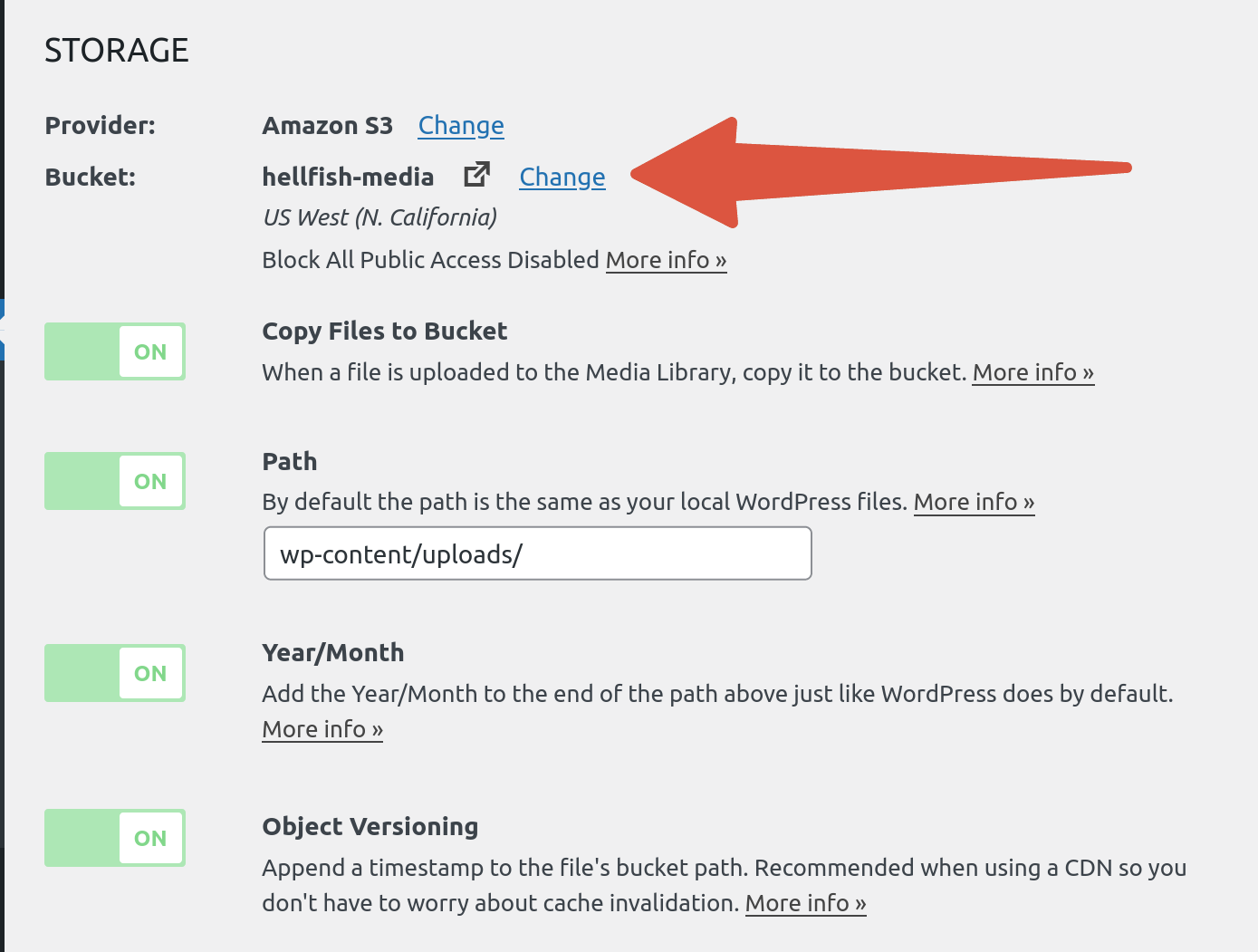 OME CloudFront Setup - WP Offload Media settings page with Change bucket link highlighted