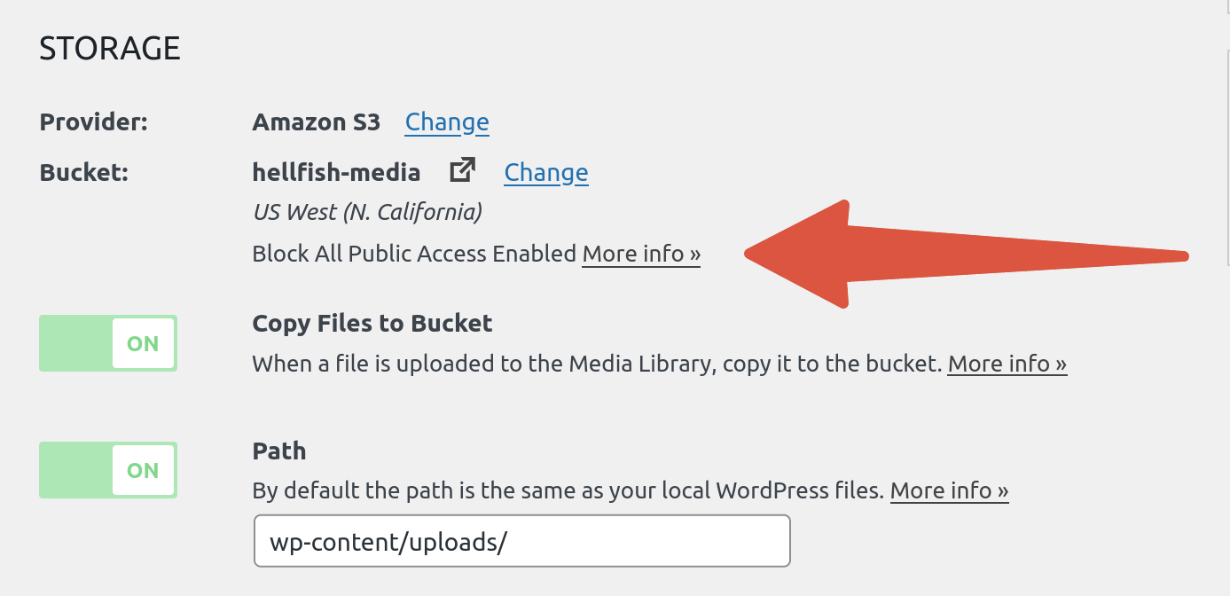 OME CloudFront Setup - Block All Public Access enabled in WP Offload Media
