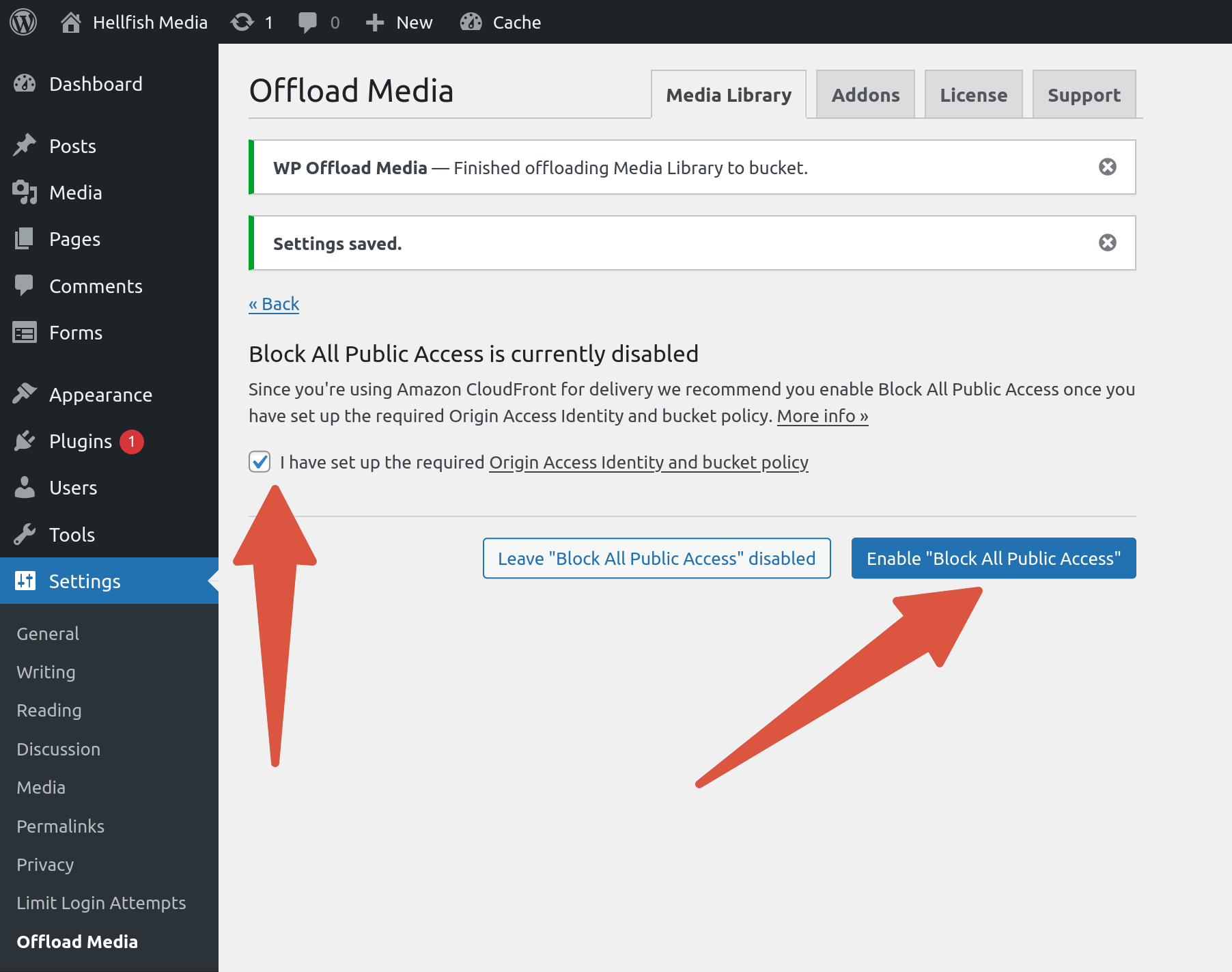 OME CloudFront Setup - Enable Block All Public Access enabled in WP Offload Media settings page
