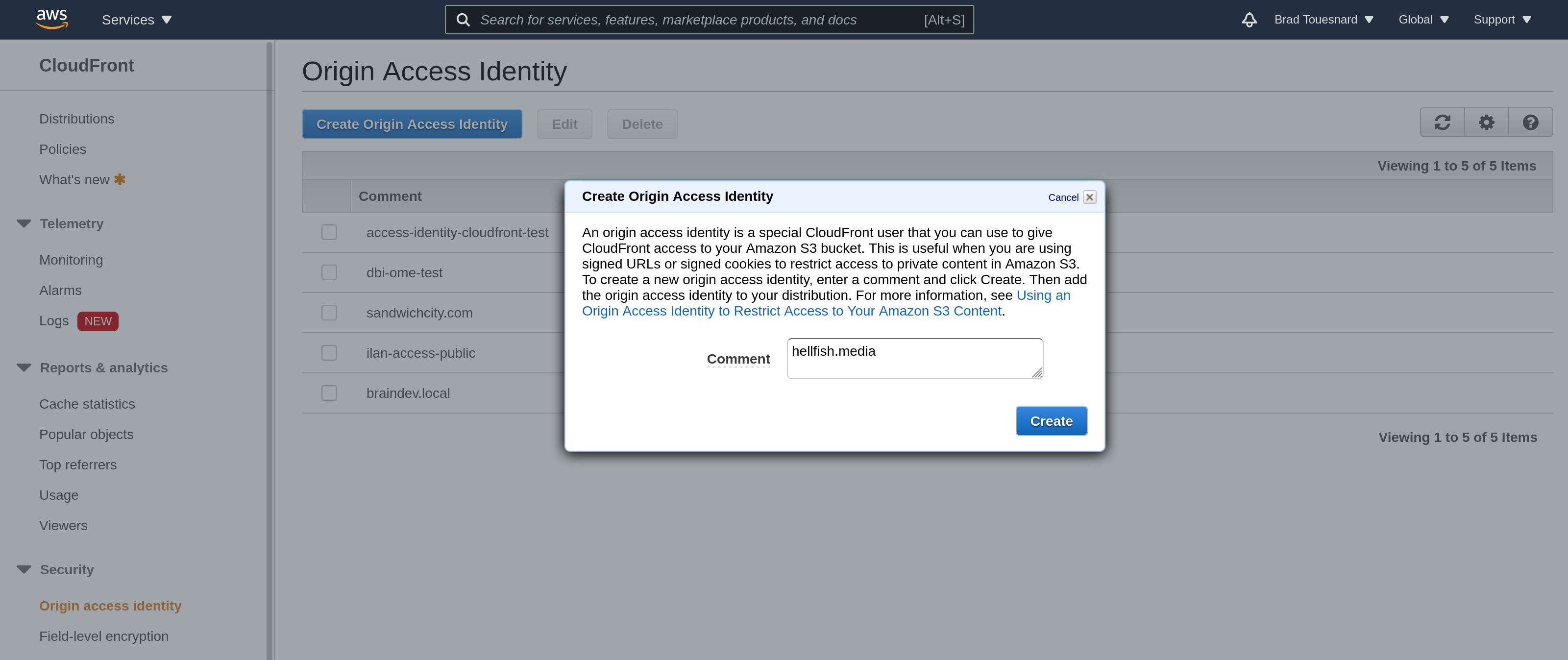 OME CloudFront Setup - Create Origin Access Identity dialog