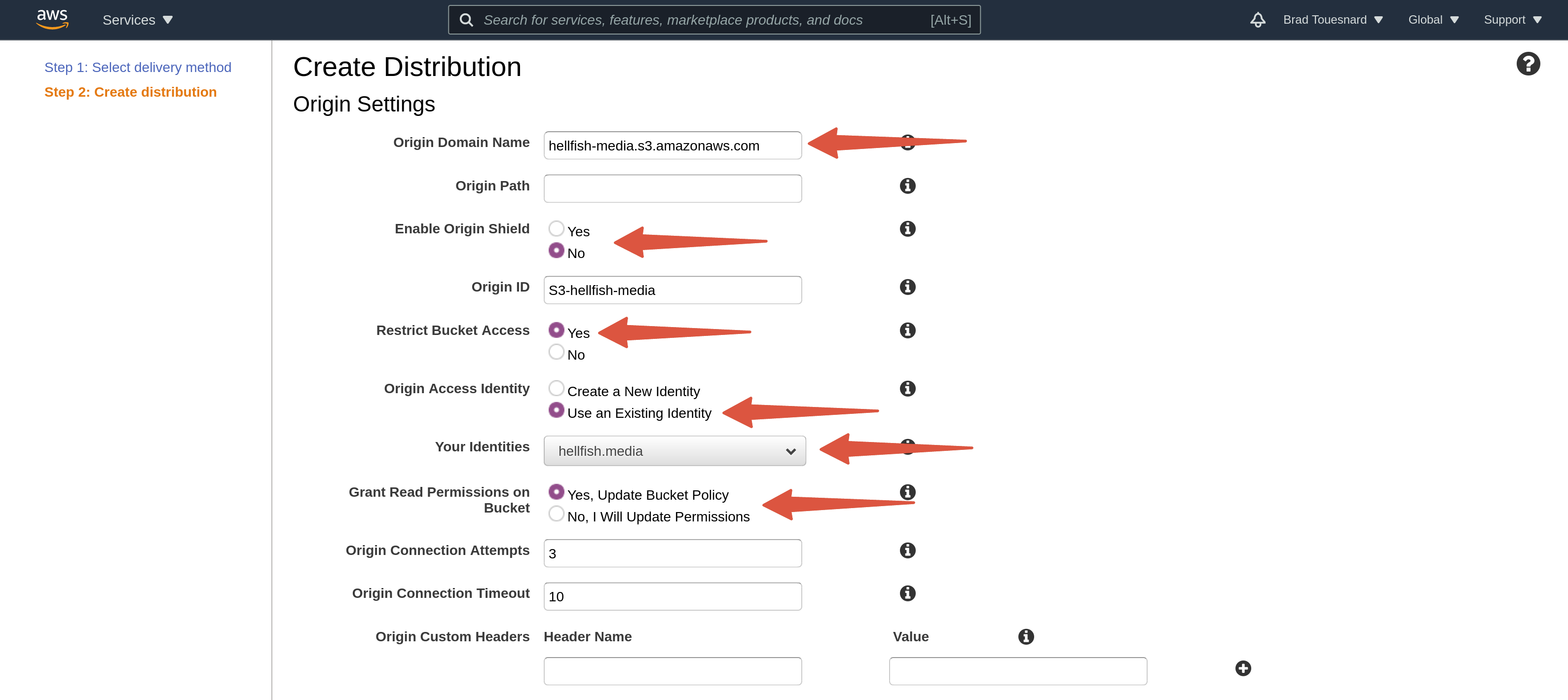 OME CloudFront Setup - Create CloudFront Distribution page Origin Settings section