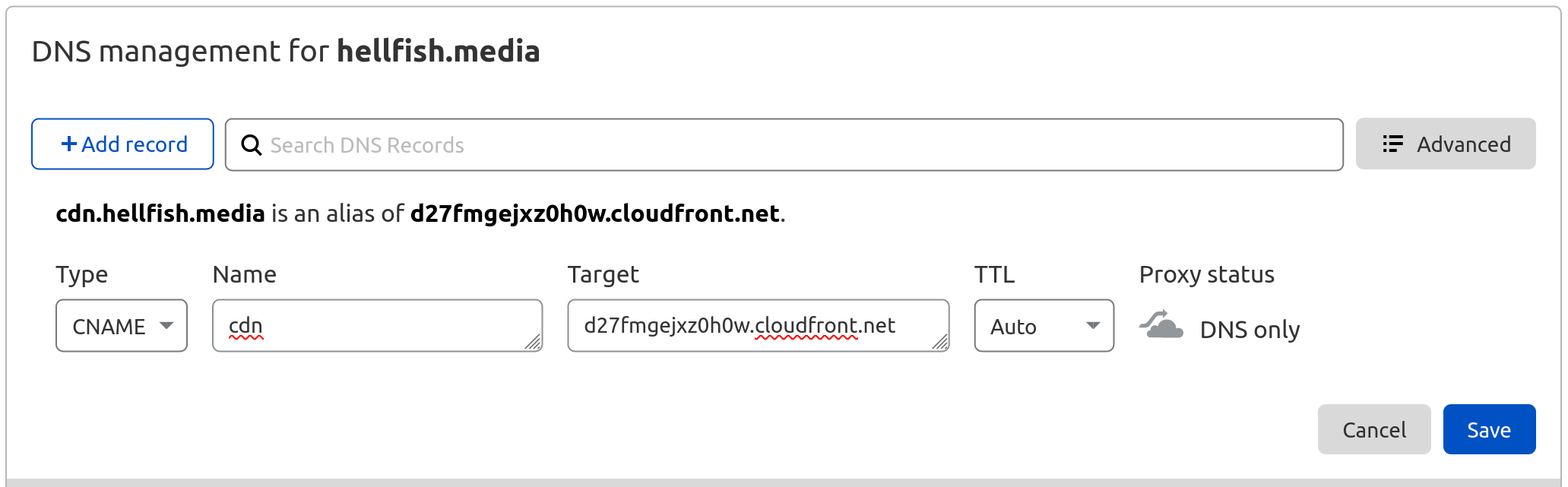 OME CloudFront Setup - Entering the CNAME DNS entry for custom domain