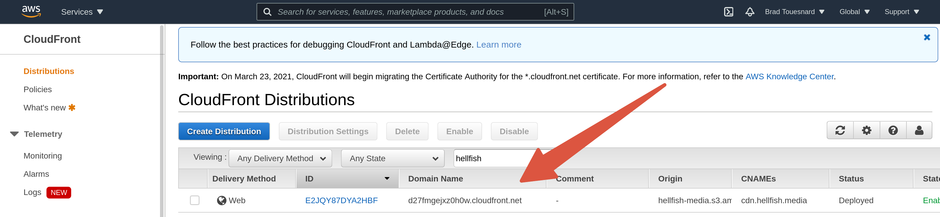 OME CloudFront Setup - CloudFront distribution deploying