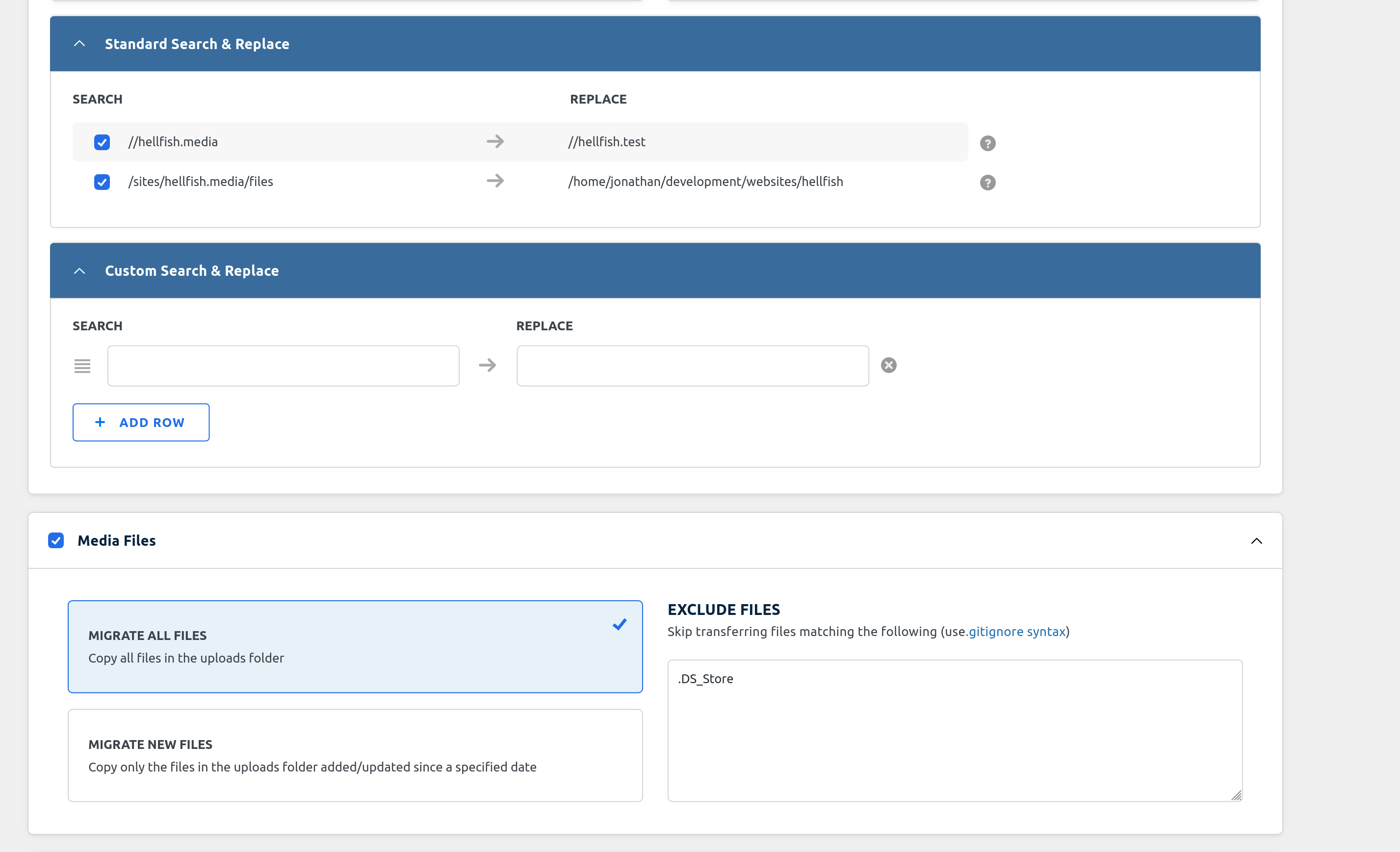 WP Migrate DB - Migration Settings