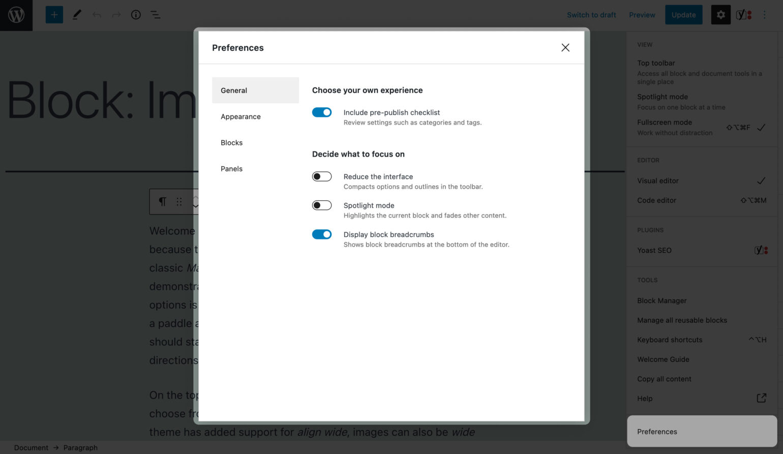 The Block Editor's Preferences menu