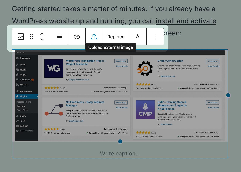The Upload External Image option