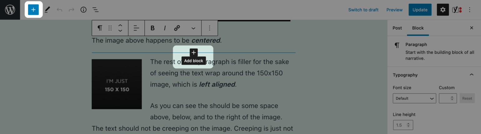 The Add Block options in the Block Editor
