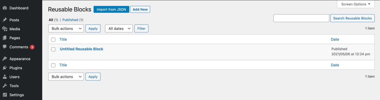The Reusable Blocks admin page