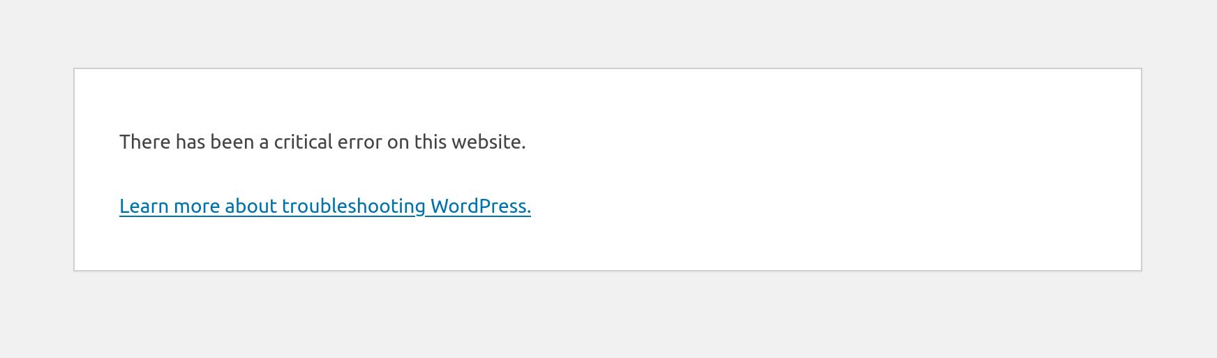 WordPress Critical Error
