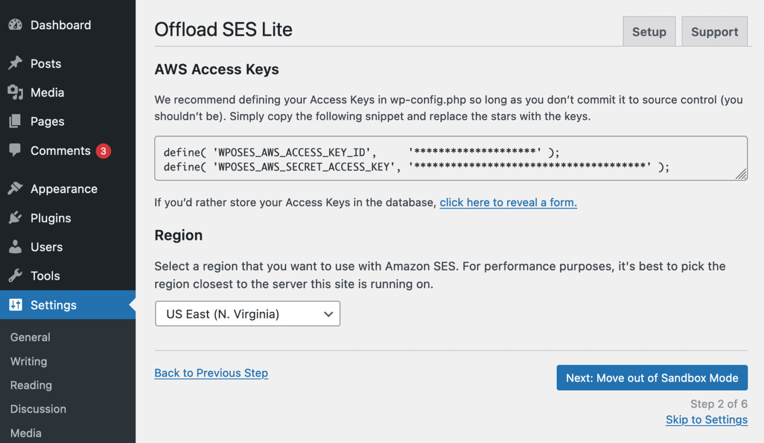Entering your access keys into WP Offload SES Lite