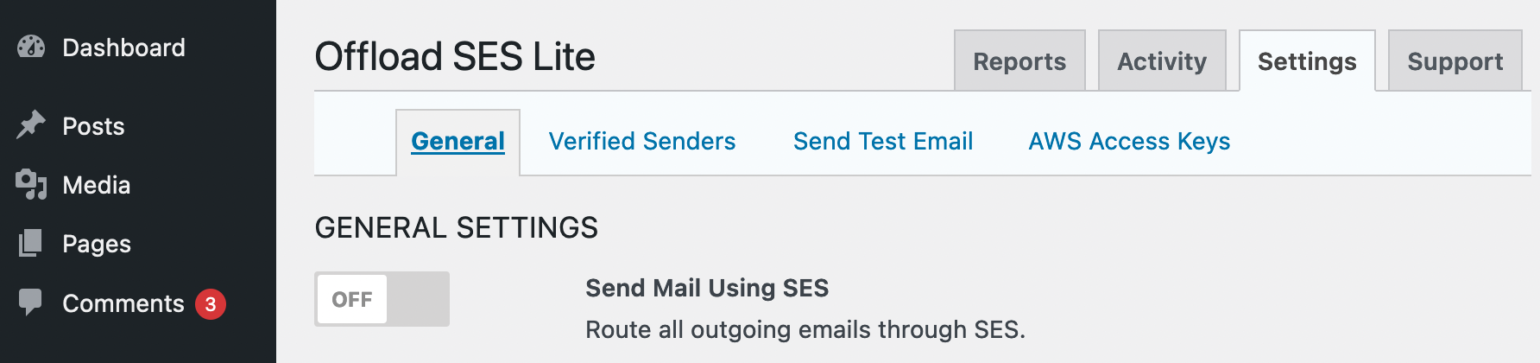 The Send Mail Using SES button