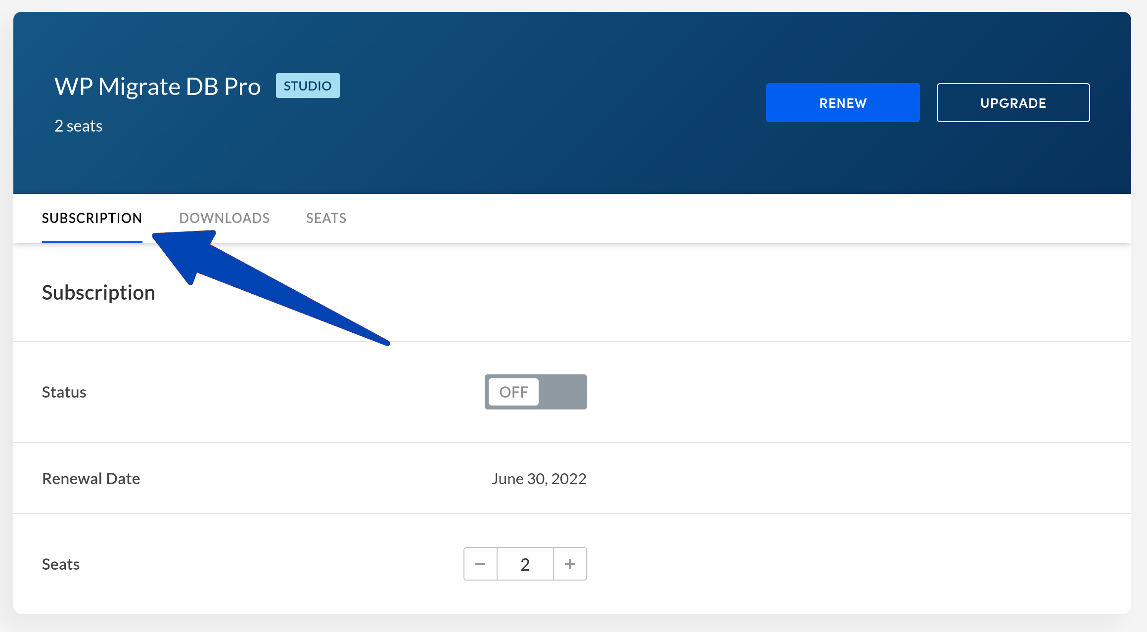 WP Migrate DB Pro Subscription Tab