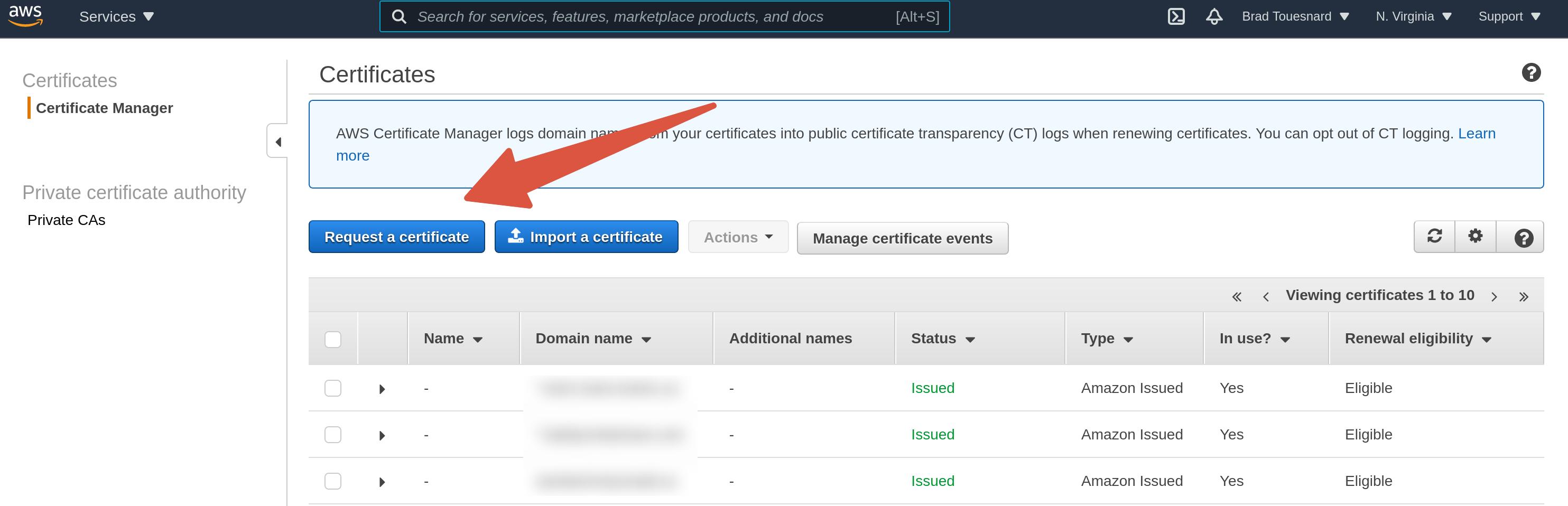 Request a new certificate